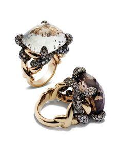 quarzo gioielli -anelli in oro rosa brunito e quarzo fumè Cerca con Google