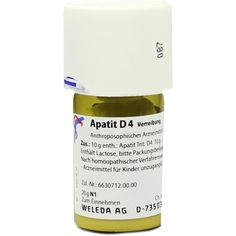 APATIT D 4 Trituration:   Packungsinhalt: 20 g Trituration PZN: 07007028 Hersteller: WELEDA AG Preis: 12,81 EUR inkl. 19 % MwSt. zzgl.…