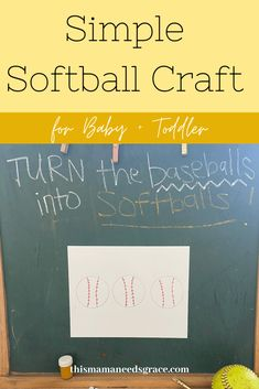 Simple softball craft perfect for teaching toddlers the color yellow.  Super easy set-up. #SoftballCraft #ToddlerCrafts #TeachingColor #Yellow