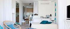 """A Marina Magna, au coeur du quartier de la vieille ville à Ibiza, un concept unique et novateur a vu le jour : """"les 105 suites"""". Sept appartements contemporains à l'esprit loft ont ainsi été construits dans l'un des plus vieux immeubles de la ville, pour prendre du bon temps au bord de la mer."""