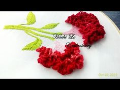 Hand embroidery tutorial for beginners. Today I will show you one interesting stitches in embroidery: carnation flower stitch. I apply this embroidery stitch into my beautiful embroidery design to make a bunch of cockscomb flowers. Hope you enjoy my vide Hand Embroidery Patterns Flowers, Basic Embroidery Stitches, Hand Embroidery Videos, Hand Embroidery Tutorial, Hand Embroidery Flowers, Creative Embroidery, Learn Embroidery, Embroidery For Beginners, Hand Embroidery Designs