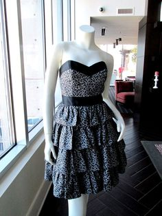 Leopard Print Tiered Strapless Dress Black NWT Designer Betsey Johnson Size 6 #BetseyJohnson #Tiered