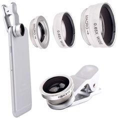 Fish eye Lens 3in 1 Clip-on Cell Phone Camera 180 Degree Fisheye Lens+Wide Angle+Macro Lens for iPhone 7Plus Xiaomi & More