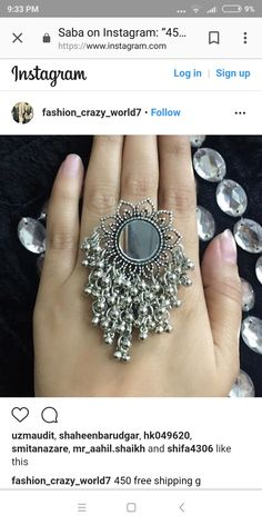 Gold With Silver Rings Indian Jewelry Sets, Silver Jewellery Indian, Silver Jewelry, Silver Rings, Hand Jewelry, Metal Jewelry, Vintage Jewelry, Fashion Rings, Fashion Jewelry