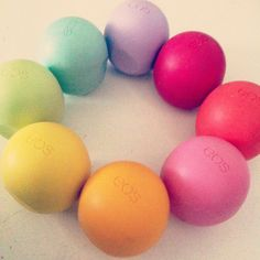 Eos Chapstick addiction!  Yesss! i have the orange, red, blue, raspberry, green, and pink...  Ahem (not all of them) YET