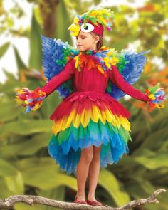 parrot girl costume - exclusively ours - Polly wanna cracker? Not this bird -- she wants Halloween candy!