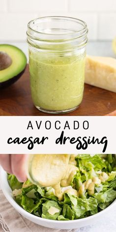 Avocado Caesar Dressing Looking for a healthy caesar salad dressing? This avocado caesar dressing uses avocado instead of eggs so it's still super creamy and flavorful, but low in calories and fat. Less than 60 calories per serving! Salad Dressing Recipes, Salad Recipes, Recipe For Ceasar Salad Dressing, Avocado Salad Dressings, Caesar Dressing Recipe No Anchovies, Avocado Oil Dressing Recipe, Sub Dressing Recipe, Homemade Healthy Salad Dressing, Homemade Salad Dressings