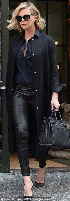 Turning heads: The 41-year-old actress cut a stylish figure in the look, adding a navy button up, pointed heels and a Saint Laurent Sac De Jour bag #bag