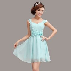 Cute Turquoise Knee Length Short Bridesmaid Prom Party Dresses SKU-401441