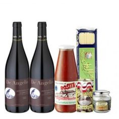 1 bottle of Montepulciano d'Abruzzo DOC Tenuta De Angelis Marches. 1 package original italian Spaghetti 500g, 1 glass toscan tomatoe sauce 690g, 1 can of original cremonese herb salt 350g and 1 can of olives filled with fine anchovis pate 150g.