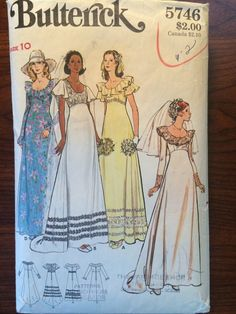 ca. 1970's Butterick 5746 Misses' Bridal Gowns 14 pieces Evening length bridal gown has high fitted bodice, wide scoop neckline with or without circular ruffle, A-line skirt, contrast sleeve, and purchased trim variations. B and C back hemline extends to train. Purchased veils