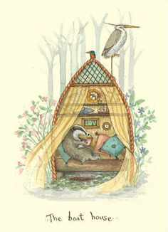 This isn't a book cover, but would it make a cute children's book? The Boat House - - A Two Bad Mice Card by Fran Evans Art And Illustration, Badger Illustration, Tatty Teddy, Cute Drawings, Animal Drawings, Anita Jeram, Children's Picture Books, Woodland Creatures, Illustrators