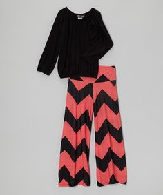 Take a look at this Black & Orange Long-Sleeve Top & Palazzo Pants by Lori & Jane on #zulily today!
