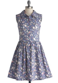 Stationery Shopkeeper Dress. You love matching your ensembles to the embellishments on the pretty papers you peddle, so this cotton floral dress is a natural choice for your wardrobe! #blue #modcloth