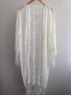 White Kimono Fringe Jacket