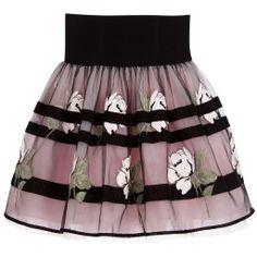 Monnalisa Chic - Black & Pink Roses Tulle Skirt | Childrensalon
