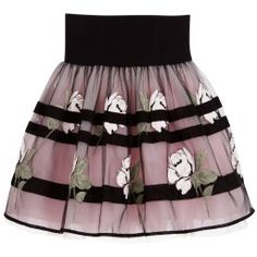 Monnalisa Chic - Black & Pink Roses Tulle Skirt  | Childrensalon