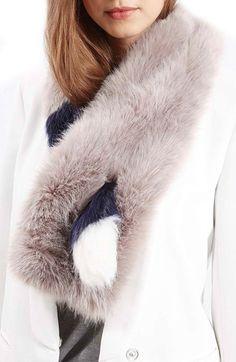 Topshop Stripe Faux Fur Stole