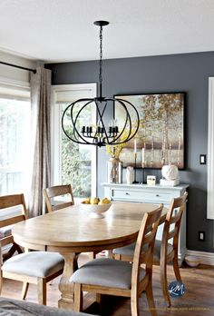 How to create a paint color palette. Dining Room with Benjamin moore Steel Wool and drum pendant