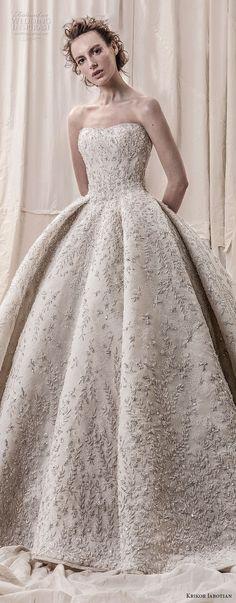krikor jabotian spring 2018 bridal straplss semi sweetheart neckline full embellishment glamorous princess ball gown a line wedding dress open back royal train (05) lv