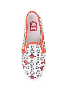 "<p>""Hello. I am Baymax, your personal healthcare companion."" </p>  <p>He's also your new foot companion! Slip-on shoes from Disney's <em>Big Hero 6</em> with a Baymax print.</p>  <ul> 	<li>Man-made materials</li> 	<li>Imported</li> 	<li>Listed in women's sizes</li> </ul>"