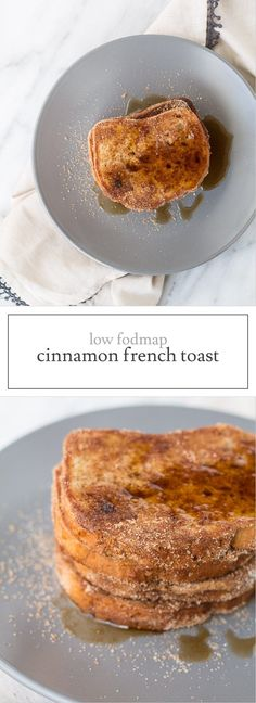Dusted in cinnamon sugar and topped with maple syrup, this Low FODMAP Cinnamon French Toast is a delicious treat for breakfast or brunch! Dusted with cinnamon sugar, this Low FODMAP Cinnamon French Toast is a delicious morning treat. Fodmap Recipes, Diet Recipes, Fodmap Foods, Health Recipes, Health Desserts, Salad Recipes, Vegetarian Recipes, Cooking Recipes, Recipes Breakfast French Toast
