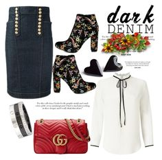 """""""Black Denim"""" by hastypudding ❤ liked on Polyvore featuring Dsquared2, Liliana, Miss Selfridge, Victoria Beckham, Cartier, Gucci, contest, denimskirt, fashionset and AmiciMei"""