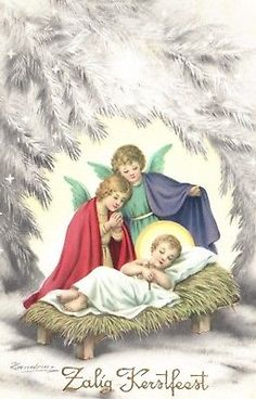 Christmas angels with baby Jesus Dutch Cristmas postcard postcard 1914