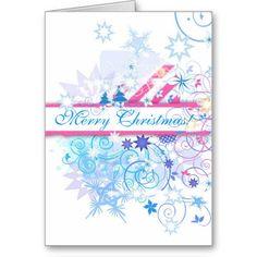 Blue Merry Christmas Greeting Card