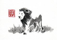 #Lion : Aquarelle sur papier 250gr / Watercolor on paper 250gr 10.5 x 15 cm…