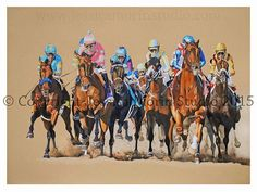 "My largest piece to date- 22""x30"" #americanpharoah #bobbaffert #preakness #preaknessstakes #derby #kentuckyderby #dortmund #danzigmoon #racingart #horseracingart #horseracing #thoroughbred #thoroughbredracing #horsestagram #art #artstagram #coloredpencil #equineart #artwork #myart #artist #prismacolor"