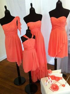 Pretty coral bridesmaids' dresses!