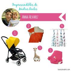 Soy Anna, de Barcelona, soy ingeniera de caminos pero estoy de paréntesis maternal. Soy la mamá de Emma.Estos han sido mis imprescindibles : 1- Carrito de bebé: soy muy fan de mi Bugaboo Bee.  2- Portabebé-bandolera: de  miscanguritos.com 3- Mordedor: la jirafa Sophie. 4- Muselinas de Aden&Anais  5- El bañador-pañal de Hamac #buenasmadres #imprescindiblesdemadresreales #bmopina #compartetuexperiencia