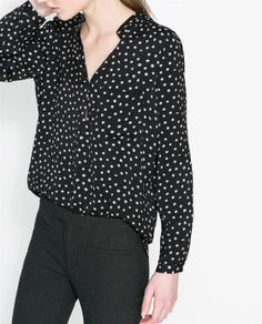 Image 4 of POLKA DOT PRINTED BLOUSE from Zara in Small