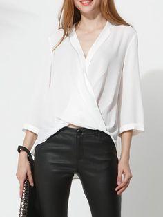 3e9e3d1083ba0 White Casual Cutout Solid sleeve V neck Asymmetrical Blouse