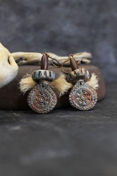 Tribal Rustic Jewelry African Earrings Rustic by Lelandjewelry