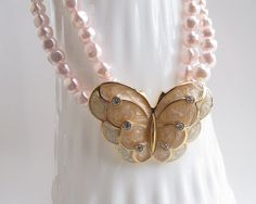 Pearl+necklace+butterfly+multi+stranded+necklace+by+AlbertsAttic