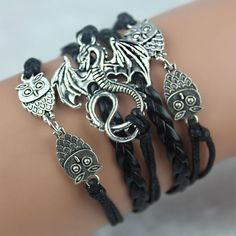 Game Of Throne Owl Dragon Leather Bracelet
