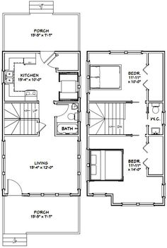 16x30 Tiny House -- #16X30H11 -- 901 sq ft - Excellent Floor Plans Small Tiny House, Tiny House Cabin, Tiny House Living, Tiny House Design, House 2, Living Room, Cabin Floor Plans, Garage House Plans, Tiny House On Wheels