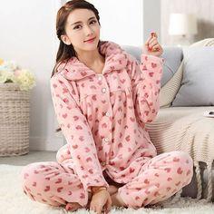 On Sale Plus Size Women Flannel Thich Fleece Pajamas Sets Winter Long Sleeve Pyjamas Feminino For Women Sleepwear Homewear Long Sleeve Pyjamas, Fleece Pajamas, Sleepwear Women, Plus Size Women, Pajama Set, Flannel, My Style, Winter, Cotton