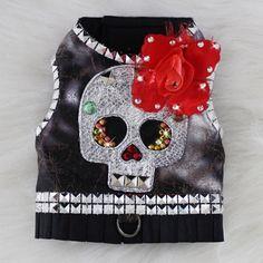 silver gothic glam studded skull dog harness vest $190.00  #orostaniCouture #BitchNewYork #Skulls #DogHarnessVest #CanineCouture