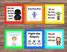 star wars lunch box notes.  Check out this item in my Etsy shop https://www.etsy.com/listing/519089044/star-wars-lunch-box-notes-printable