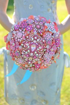 Pink & Orange Wedding Brooch Bouquet