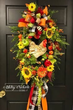 This wreath will give your front door or kitchen a warm cozy country touch that is classy and not too overdone. ~Built on a 24 oval grapevine wreath~ Fall Mesh Wreaths, Autumn Wreaths For Front Door, Summer Door Wreaths, Country Wreaths, Diy Fall Wreath, Wreath Ideas, Spring Wreaths, Fall Door, Holiday Wreaths
