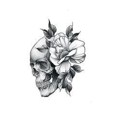 Tattoos on back Tattoo P, Tatoo Art, Back Tattoo, Skull Rose Tattoos, Flower Tattoos, Body Art Tattoos, Pretty Skull Tattoos, Skull Tattoo Design, Tattoo Designs