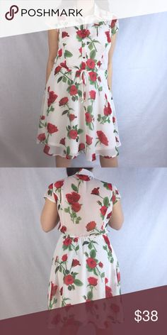 """✨New In✨ Rose Shirt Dress New With Tags Retail. A beautiful ivory, rose printed shirt dress. The fabric is lovely and lightweight. Has a sheer back and shoulders.  100% Polyester   Length: Approx. 37"""" inches from shoulder to hem.   📌***Multiple Sizes Available*** Tap Your Size Below 👇***📌 One Story Dresses"""