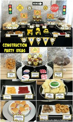 Cute snack ideas for a construction birthday party from Moms & Munchkins