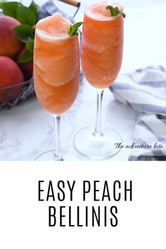 Peach Bellini recipe is made with real peaches and peach schnapps and bubbly Prosecco. Making this a perfect cocktail for any occasion. No need to wait for the peach season you can enjoy a Peach Bellini any time of…Read Peach Drinks, Brunch Drinks, Cocktail Drinks, Fun Drinks, Peach Sangria, Drinks With Malibu, Drinks With Champagne, Drinks With Peach Schnapps, Processco Cocktails