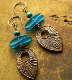 Sea Glass Earrings Copper Beach Glass Blue Turquoise via Etsy
