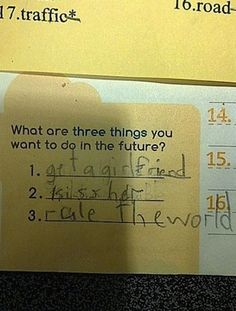 A class of 6 year olds were asked which three things they'd like to do in the future.